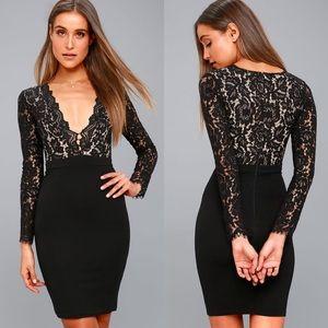 NWT Lulus Swooner or Later Black Lace V-Neck Dress